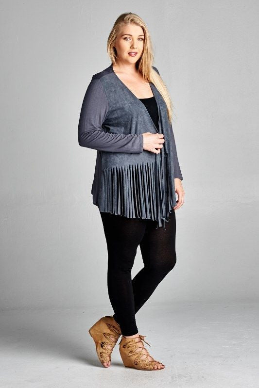 Made in USA Women's Blue Grey Faux Suede Fringe Cardigan Plus Size Side View