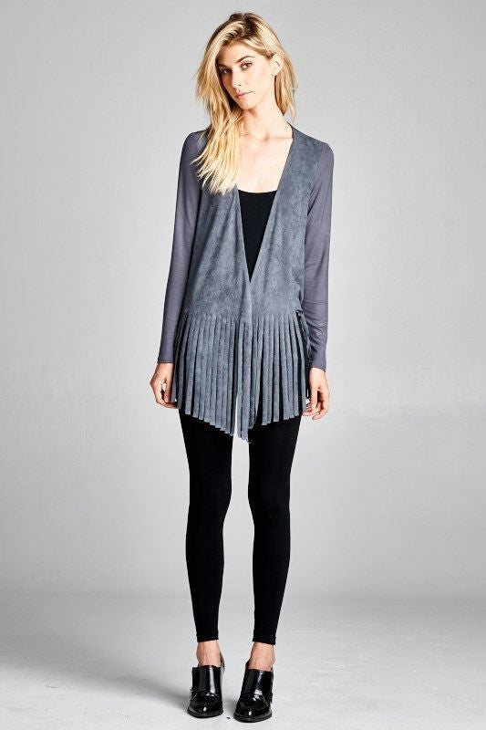 Made in USA Women's Blue Grey Faux Suede Fringe Cardigan Regular Size Front View
