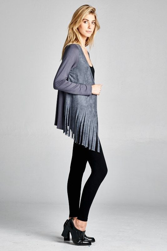 Made in USA Women's Blue Grey Faux Suede Fringe Cardigan Regular Size Side View