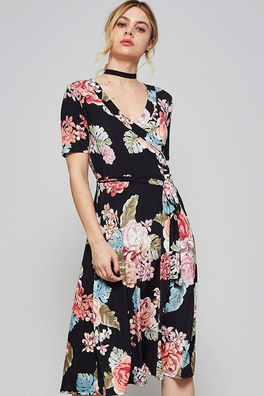 America Made Women's Black Floral Wrap Dress