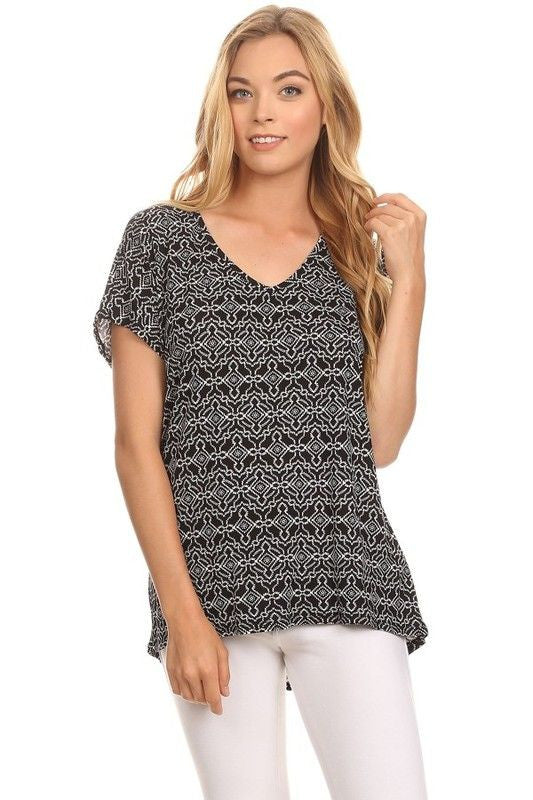 American Made Women's Abstract Patterned Short Sleeve Top
