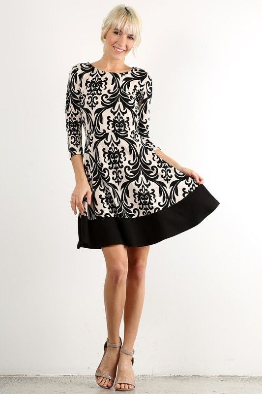 American Made Women's Black and White Damask Print A-Line Dress