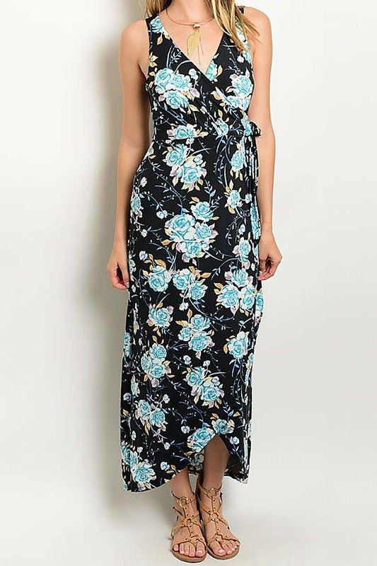 American Made Women's Blue Roses Floral Faux Wrap Maxi Dress Front