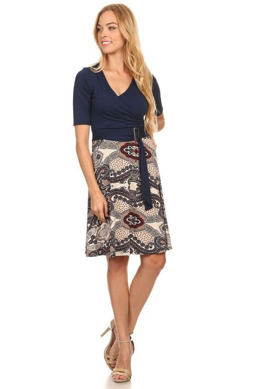 American Made Women's Navy Patterned A-Line Belted Dress