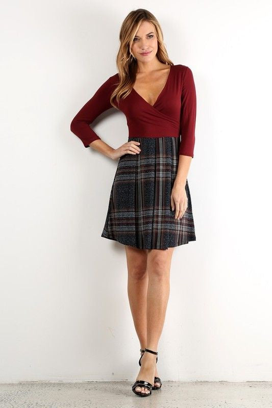 American Made Twofer Women's Dress in Red Plaid Front