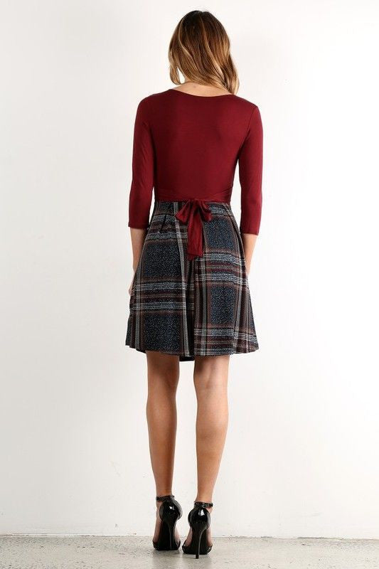American Made Twofer Women's Dress in Red Plaid Back