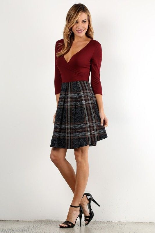 American Made Twofer Women's Dress in Red Plaid Side