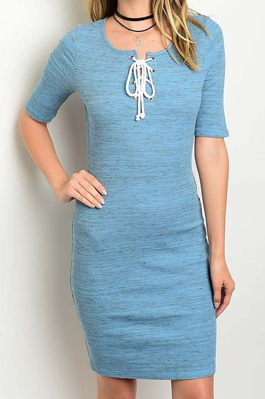 American Made Women's Blue Crisscross Tie Bodycon Dress Front