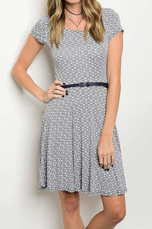 American Made Women's Navy Geometric Print Fit & Flare Dress