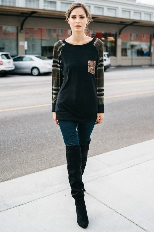 American Made Women's Plaid Raglan Top with Gold Sequin Pocket Front