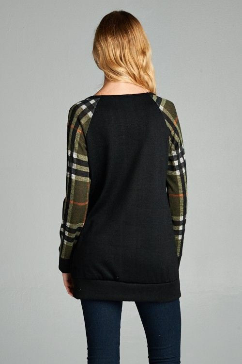 American Made Women's Plaid Raglan Top with Gold Sequin Pocket Back