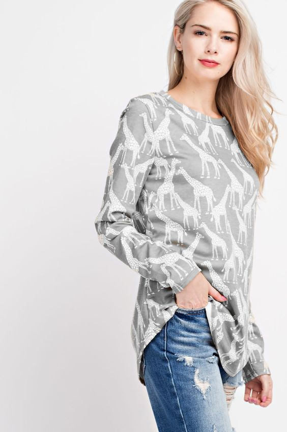 American Made Women's Giraffe Print Top in Grey