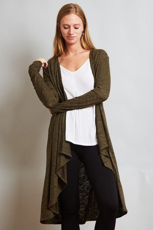 American Made Women's Green High Low Long Cardigan