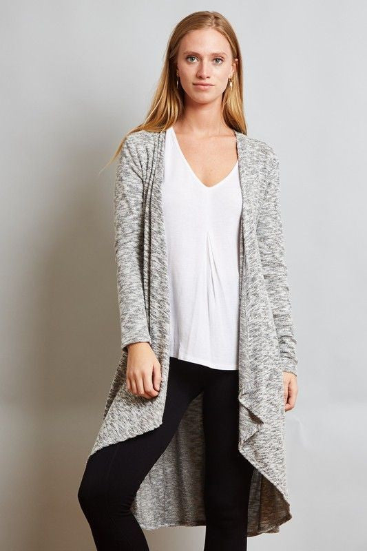 American Made Women's Grey High Low Long Cardigan