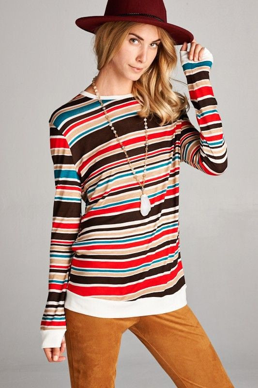 American Made Women's Retro Striped Top in Red Front