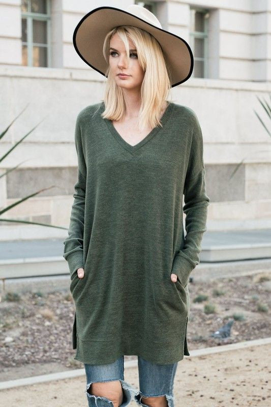 American Made Women's Green Tunic Top with Pockets Closeup