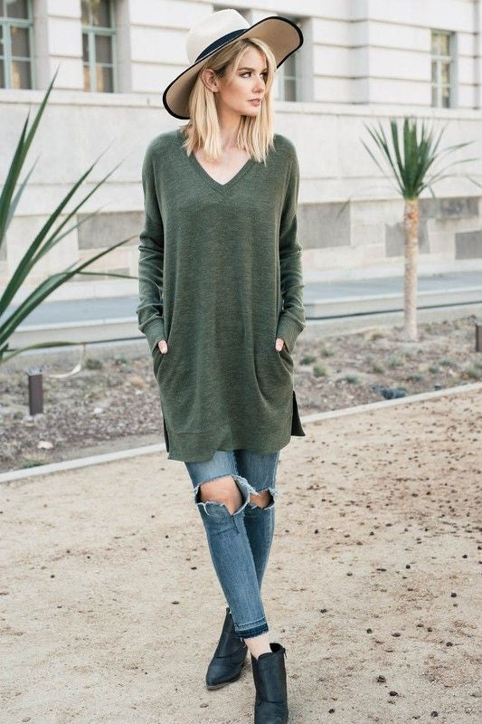 American Made Women's Green Tunic Top with Pockets Front