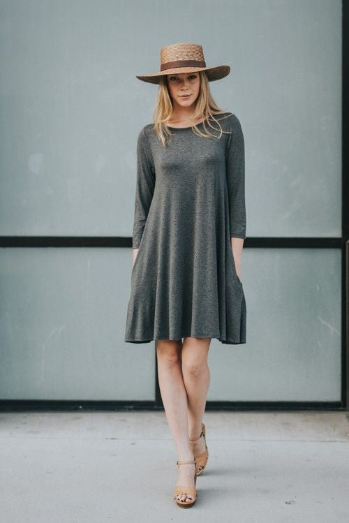 American Made Women's Grey Swing Dress with Pockets