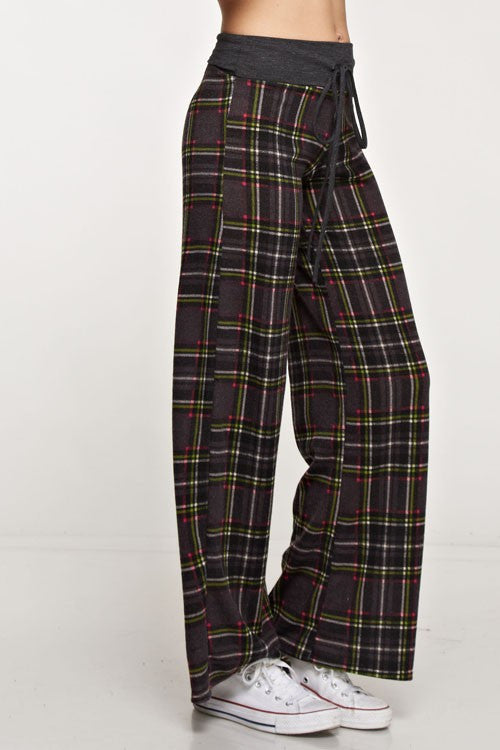 American Made Women's Grey Plaid Lounge Pants Closeup