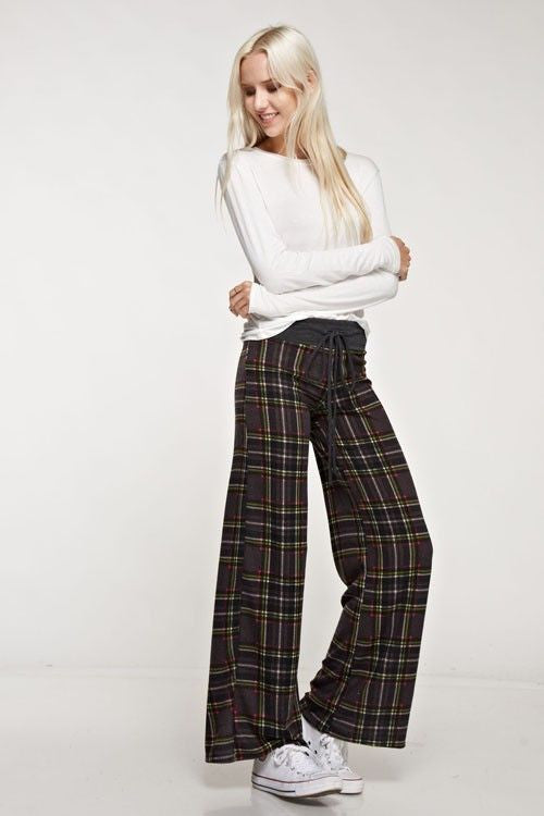 American Made Women's Grey Plaid Lounge Pants