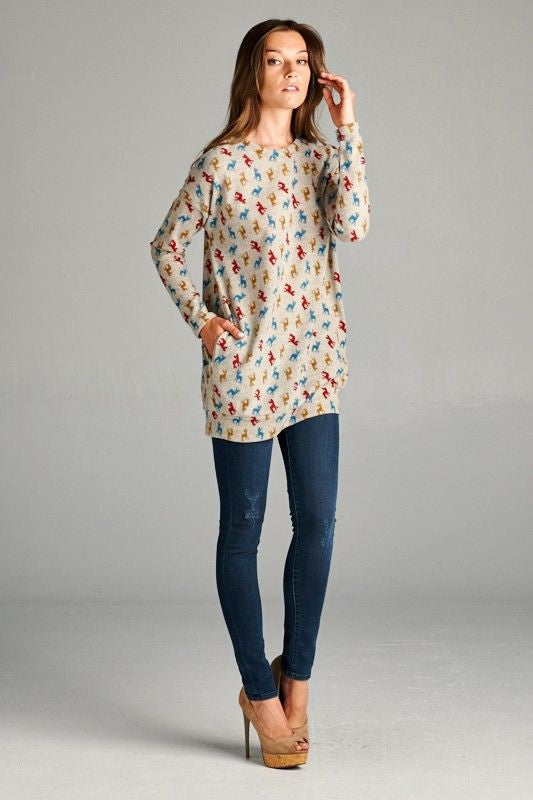 American Made Women's Seriously Soft Deer Print Tunic With Pockets