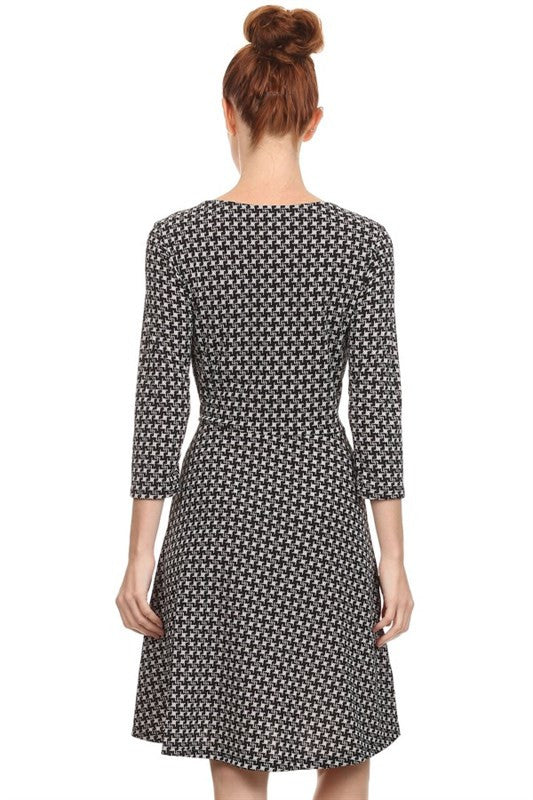 American Made Women's Black Fit and Flare Houndstooth Print Dress Back