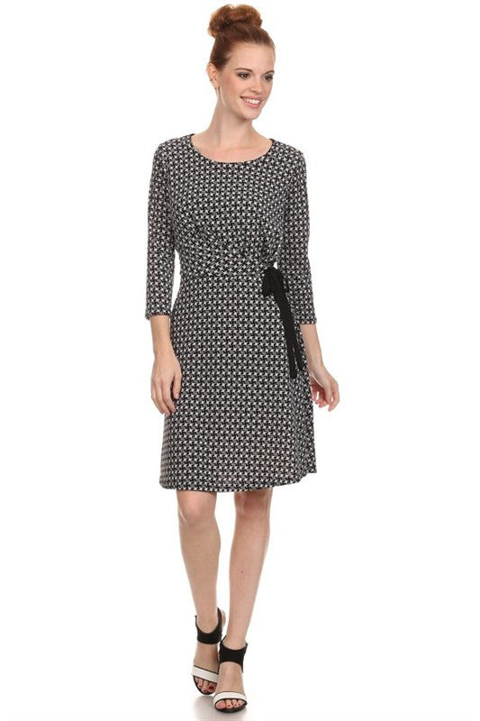 American Made Women's Black Fit and Flare Houndstooth Print Dress Front