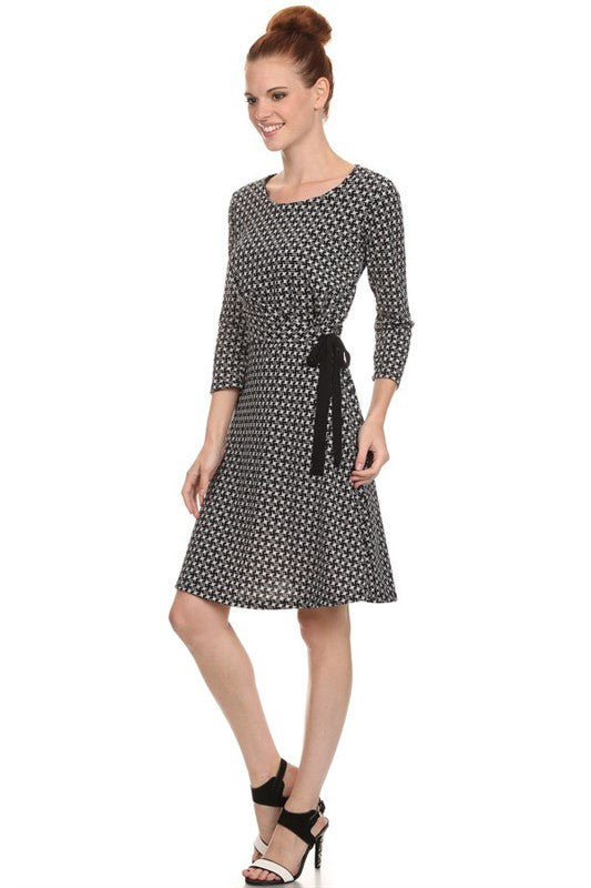 American Made Women's Black Fit and Flare Houndstooth Print Dress Side