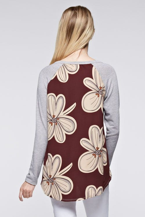 Made in USA Bold Floral Mixed Media Long-Sleeve Top Back View