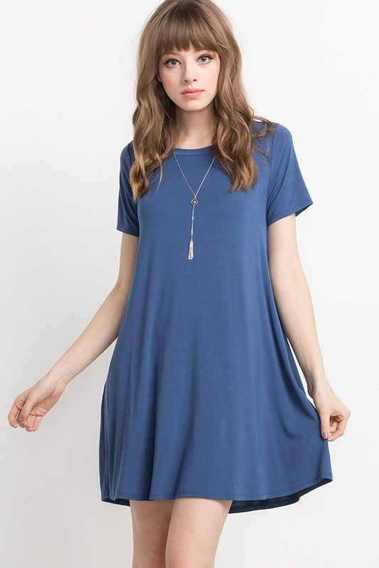 American Made Women's Light Navy Short Sleeve Swing Dress