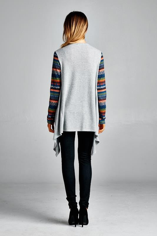 American Made Open Cardigan with Colorful Fair Isle Sleeves Back