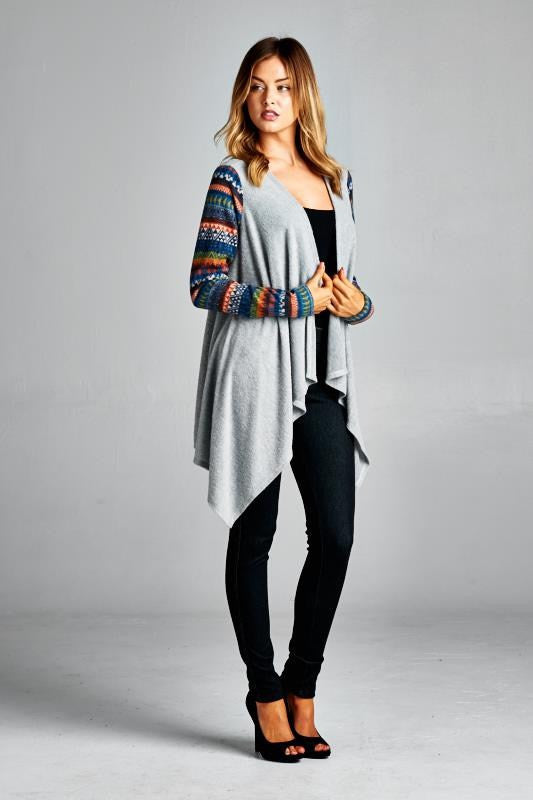 American Made Open Cardigan with Colorful Fair Isle Sleeves Side