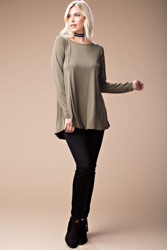 American Made Women's Cupro Lace Up Back Top in Olive Front