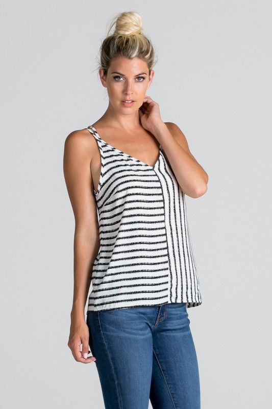American Made Women's Black and White Crisscross Tank Top Front
