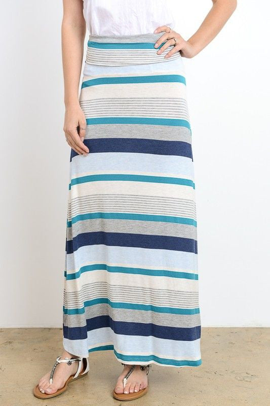 American Made Women's Teal Variegated Striped Maxi Skirt Front
