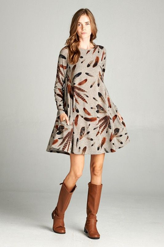 American Made Women's Feather Print Swing Dress with Pockets Front