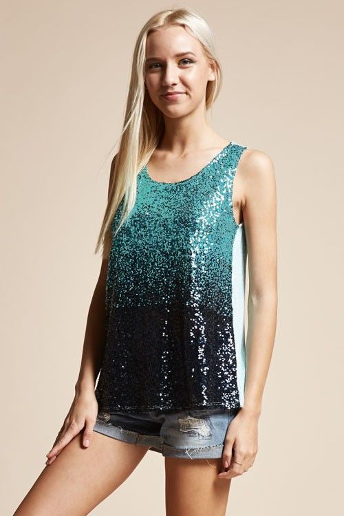 American Made Women's Aqua Sequin Tank Top Side