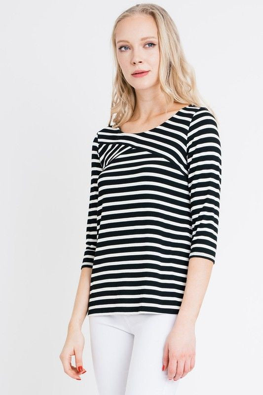 American Made Women's Black and White Striped Crossover Top Front