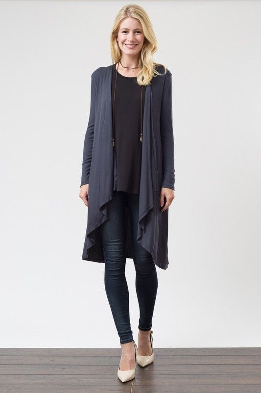 American Made Women's Black High Low Long Cardigan