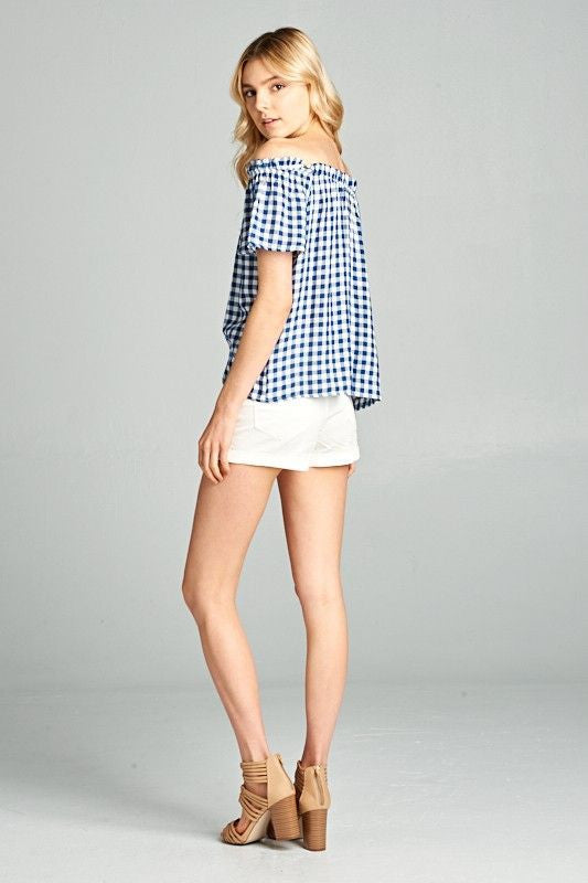 American Made Women's Navy Off The Shoulder Gingham Top Back
