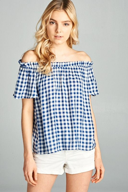 American Made Women's Navy Off The Shoulder Gingham Top