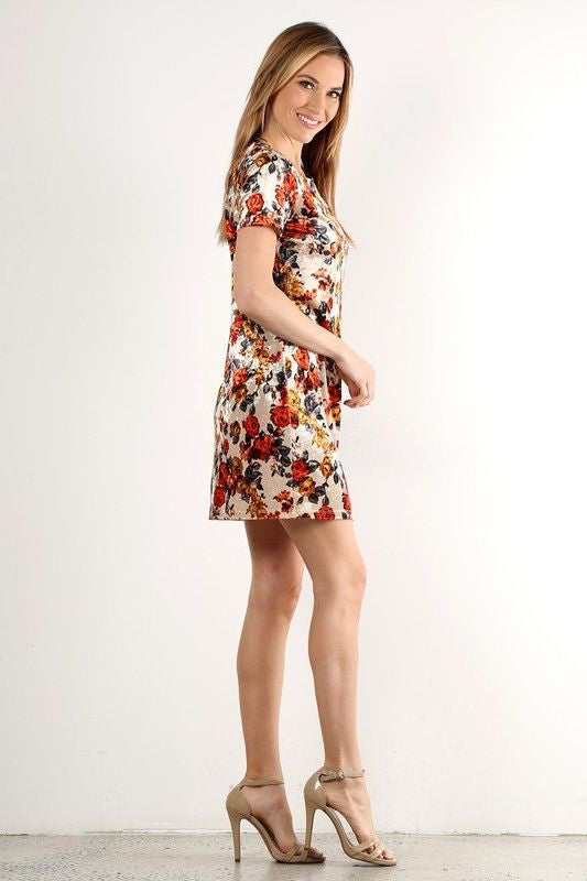 American Made Women's Cream Floral Velvet Sheath Dress Side