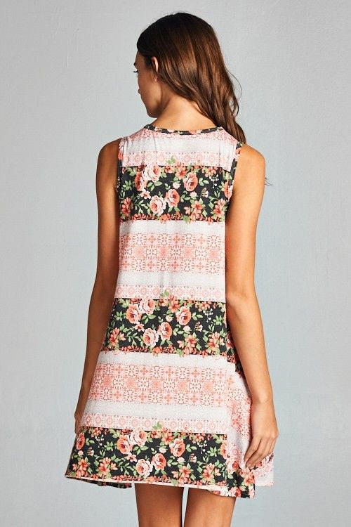 American Made Women's Pink Mixed Floral Sleeveless Swing Dress Back