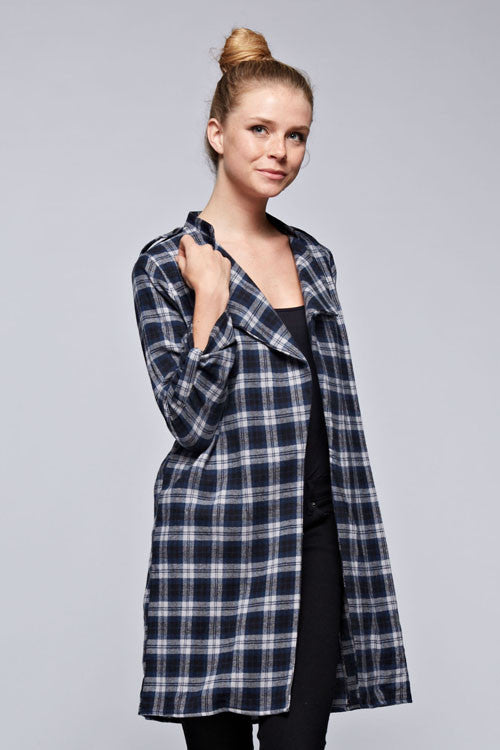 Comfy Plaid Shirt Cardigan in Navy