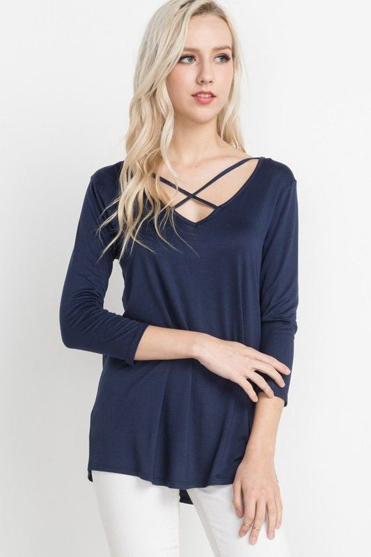 American Made Women's Navy Crisscross Top