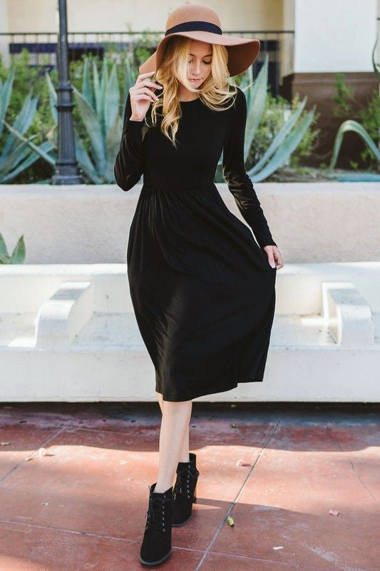 American Made Women's Black Midi Dress
