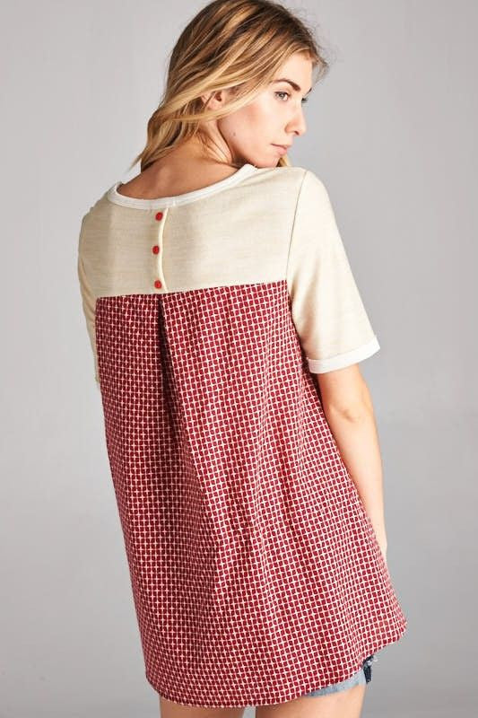 American Made Women's Red and Cream Mixed Media Top Back