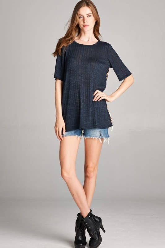 American Made Women's Boho Crochet Lace Top in Navy Front