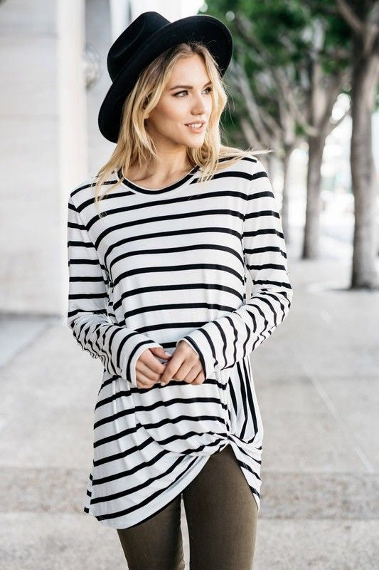 American Made Women's Black & White Striped Twist Top
