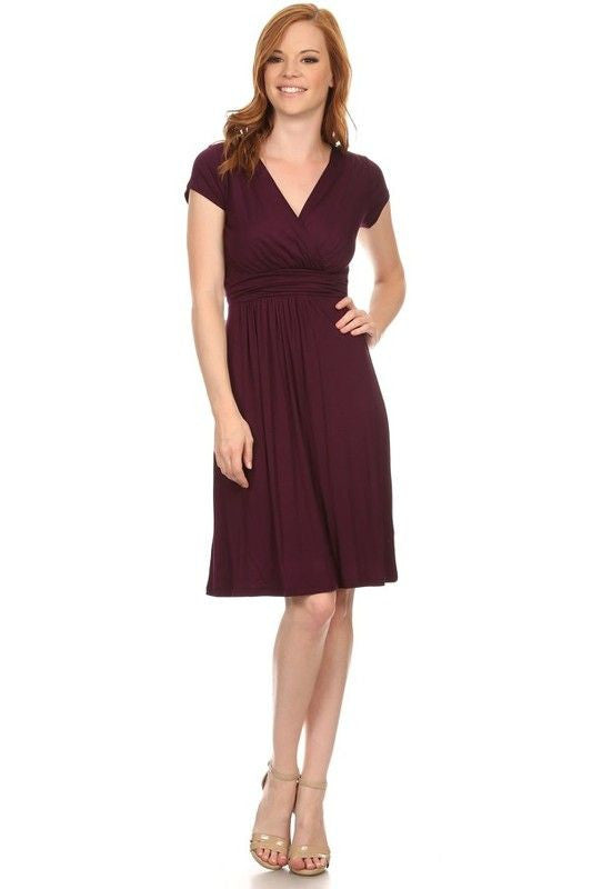 American Made Women's Purple Ruched Waist Dress Front